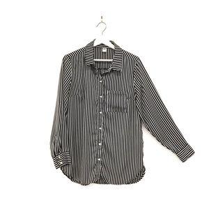 Black & White Old Navy Striped Button Blouse Sz M